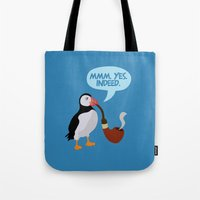 puffin Tote Bags featuring puffin' by Christopher