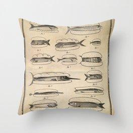 Fishers' menu Throw Pillow