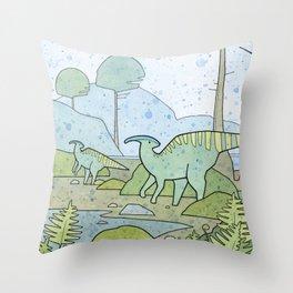 Duck-billed Dinosaur, Parasaurolophus Throw Pillow