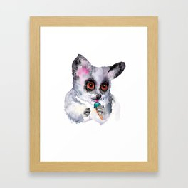 Cute watercolor bush baby with ice cream Framed Art Print