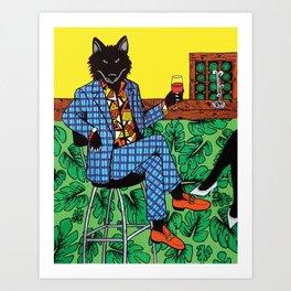 Wolf at the Wine bar Art Print