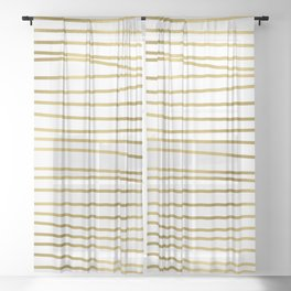 Small simply uneven luxury gold glitter stripes on clear white - horizontal pattern Sheer Curtain