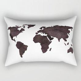 World Map Deep Brown Ink Watercolor Rectangular Pillow