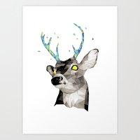Geosafari   Deer (White) Art Print