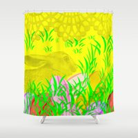 easter Shower Curtains featuring Easter Bunny  by Tanja Riedel