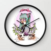 pastel goth Wall Clocks featuring Oh my GOTH! by Raquel Amo Art