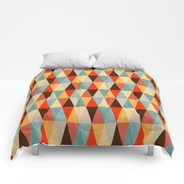 Red & Brown Geometric Triangle Pattern Comforters