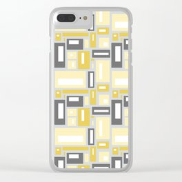 Simple Geometric Pattern in Yellow and Gray Clear iPhone Case