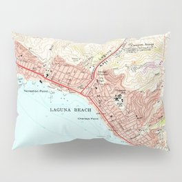 Vintage Map of Laguna Beach California (1965) Pillow Sham