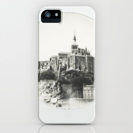 Mont Saint-Michel in Black and White - Instant Film Photograph iPhone Case