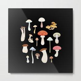 Dreamy Mushrooms Pattern in Black  Metal Print