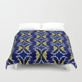 Yellow Darkblue Ornament  Baroque Damask Pattern Duvet Cover