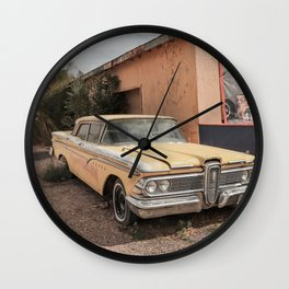 Old American Car Art Print | Famous Route 66 Arizona | Travel Photography Wall Clock