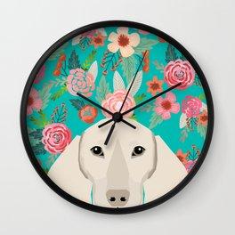 Dachshund florals flower pet portrait dog art dachsie doxie pet art dog breeds Wall Clock