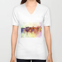 dublin V-neck T-shirts featuring Dublin skyline in watercolor background by Paulrommer
