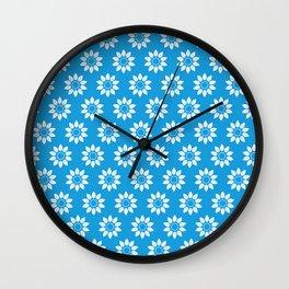 Ten Petal Flower Pattern (Blue & White) Wall Clock