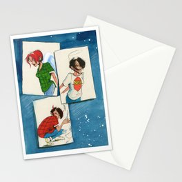 3 girl square Stationery Cards