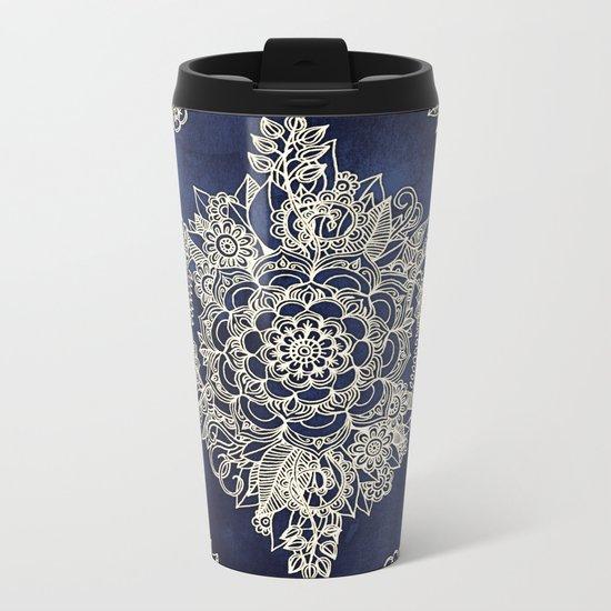 Cream Floral Moroccan Pattern on Deep Indigo Ink Metal Travel Mug