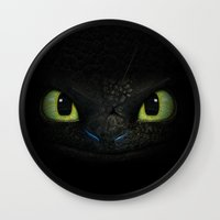 hiccup Wall Clocks featuring Toothless  by aleha