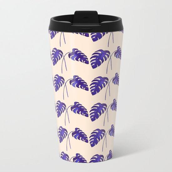 Indigo Monstera Leaf Watercolor on Blush Metal Travel Mug
