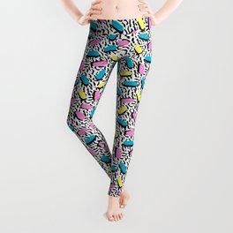 Poppin - memphis throwback retro 1980s 80s style classic trendy hipster pattern bright neon dorm Leggings