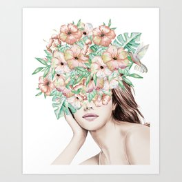 She Wore Flowers in Her Hair Island Dreams Art Print
