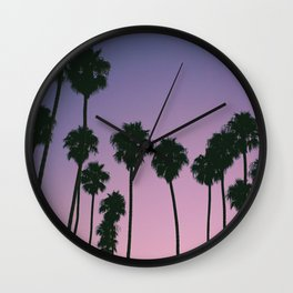 Palm Trees With Tropical Sunset Wall Clock