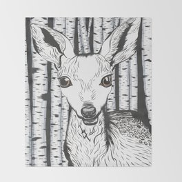 Ink and watercolor black and white doe in the forest Throw Blanket