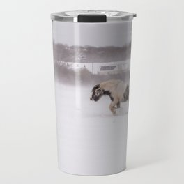 Lonely horse in the snow Travel Mug