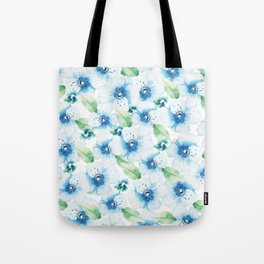 Hand painted blue white green watercolor floral pattern Tote Bag