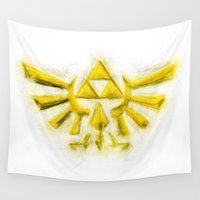 triforce Wall Tapestries featuring Triforce - Zelda by KitschyPopShop