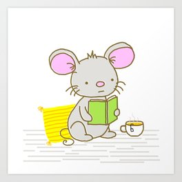 Busy Reading Mouse Art Print