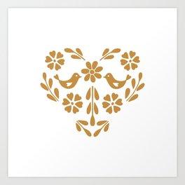 Golden heart shaped floral and bird Art Print