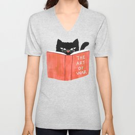 Cat reading book Unisex V-Neck