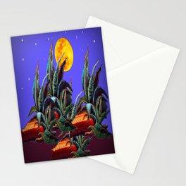Desert Agaves Full Moon Purple Evening Landscape Stationery Cards