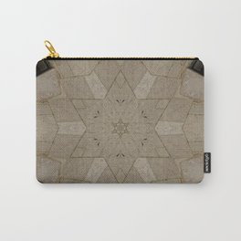 Beige Stone Star Motif Carry-All Pouch