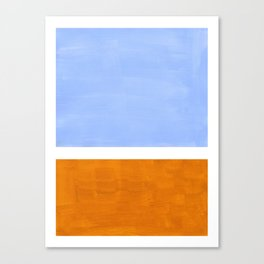 Pastel Royal Blue Yellow ochre Mid Century Modern Abstract Minimalist Rothko Color Field Squares Canvas Print