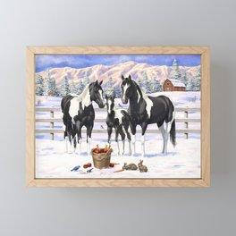 Black Pinto Horse Family Paint Horses In Snow Framed Mini Art Print