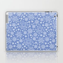 Snowflake doodle pattern on the blue backgrount Laptop & iPad Skin