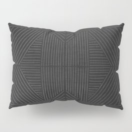 Charcoal grey line work on textured cloth - abstract geometric pattern Pillow Sham
