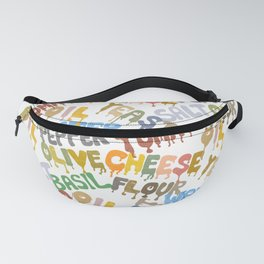 Margarita Pizza Recipe Food Lettering Fanny Pack
