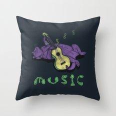 Ukulele Cat Throw Pillow
