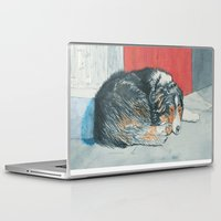 border collie Laptop & iPad Skins featuring Sleeping Border Collie by Yvonne Carter