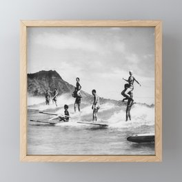 Vintage Hawaii Tandem Surfing Framed Mini Art Print