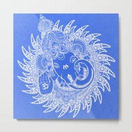 Ganesha Lineart Blue White Metal Print