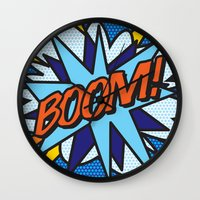 comic book Wall Clocks featuring Comic Book BOOM! by The Image Zone