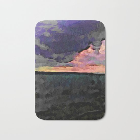 Pink Sky with Lavender Clouds and the Dark Sea Bath Mat