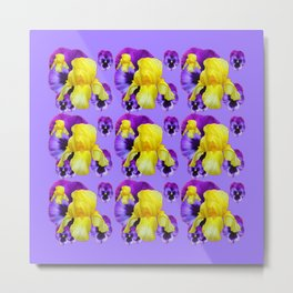 LILAC MONTAGE YELLOW IRIS PURPLE PANSY ART Metal Print