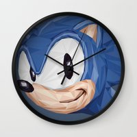 video games Wall Clocks featuring Triangles Video Games Heroes - Sonic by s2lart