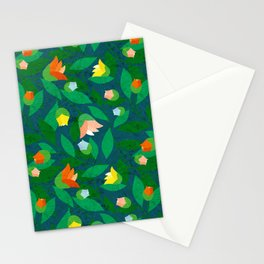 Vined Pattern with Garden Flowers I | Colour Variation IV Stationery Cards